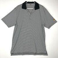 Peter Millar Summer Comfort Polo Shirt Mens Large Black White Stripe Yellow Bird