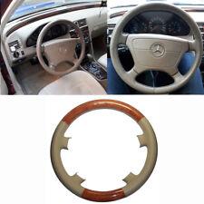 Tan Leather Brown Wood Steering Wheel Cover Benz W210 S210 E300 E320 E420 E500