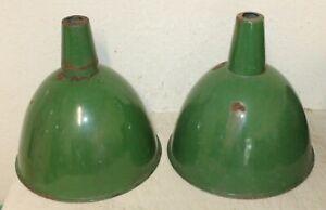 RARE Green Porcelain Enamel Industrial Gas Station Barn Light Fixture Shade16x16