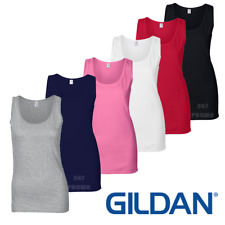 Gildan WOMEN'S TANK TOP VEST FITTED LONG CAMI SOFT COTTON SUMMER COLOURS SIZES