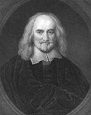 Founder of Modern Philosophy THOMAS HOBBES Leviathan ~ 1835 Art Print Engraving