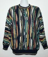 Linksport by Austads Mens L 3D Colorful Rainbow Cosby Style Texture Knit Sweater