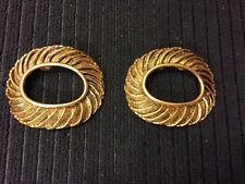 Vintage MUSI BRASS Swirl DESIGN PAIR OF SHOE CLIPS BUCKLE SASHES