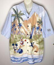 Disney Parks Hawaiian Aloha Shirt L Large Mickey Donald Goofy Pluto Surf Beach