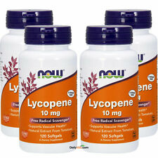 4 x NOW Foods Lycopene 10 mg 120 SGs, Antioxidant, Natural Tomato Extract, FRESH