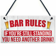 Bar Rules Still Standing Alcohol Beer Pub Plaque Funny Man Cave Sign Wall Gift