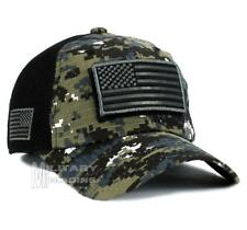 USA American Flag Hat Black Digital Detachable Patch Micro Mesh Tactical Cap