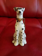 Limoges Hinged Trinket Box - Tall White Spotted Dalmatian Dog - Collar and Chain
