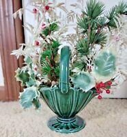 "Vintage 7.25"" Ceramic Planter Green Basket 822 - USA"
