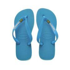New Original Havaianas Brasil Logo Flip Flops Blue Sky For Women Size 6