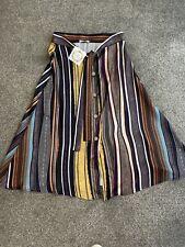 BNWT Talia Benson Faux Silk Stripe Midi Skirt Size M 10 Button Front Vintage