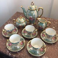 Lusterware Demitasse 15 Piece Tea Set Courting Couple Gold Trim/Light Teal