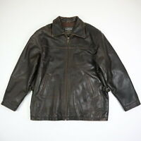 Oakwood Classic Quilted Lined Heavyweight Leather Jacket Brown Mens LARGE