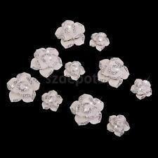 10 Alloy Crystal Diamante Enamel Flower Phone Case Decor Craft Embellishment
