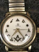 Rare omega  Ross Masonic mens watch vintage 14k Gold Filled 1960s