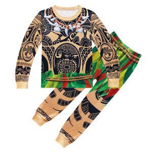 Christmas Gift Boys Moana Maui Pajamas 2 Pieces Sets T-shirt Sleepers O92