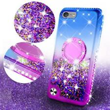 iPod Touch 5/6/7 th Generation Liquid Glitter Phone Case Cover w/ Tempered Glass