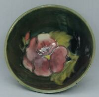 Moorcroft Pansy Pedestal Bowl  on green and turquoise ground - 9cm diameter