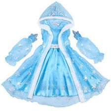 Cinderella Fancy Dress Up Girl Princess Queen Elsa Outfit Costume w/ Hooded Cape