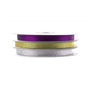 Metallic Taffeta Christmas Ribbon, 3/8-inch, 25-yard
