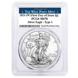 2021 (W) 1 oz Silver American Eagle $1 Coin PCGS MS 70 FDOI (West Point)