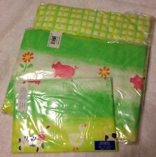 Girl Land of Nod twin sheet set Barnyard Pink/Lime plaid bedding goes w/PBK