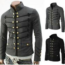 Mens Vintage Military Jacket Rock Victorian Gothic Coat Steampunk Frock Uniform#