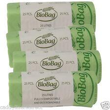 25 Litre x 100 BioBag Compostable Food Waste Caddy Liner Bin Bags (25L) EN13432