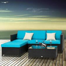 5PC Patio Sofa Set Rattan Wicker Furniture Sectional Sofa Garden Outdoor