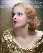 JEAN HARLOW WEARING GOLD SEQUINED GOWN BEAUTIFUL COLOR PHOTO BY CHIP SPRINGER