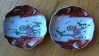 Two Fish Dishes with Floral Pattern Details Red, Gold, White, Green