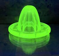 Vintage Vaseline Uranium Glass Green Citrus  Juice Reamer Juicer Glowing