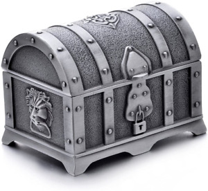AVESON Rectangle Vintage Metal Treasure Chest Trinket Jewelry Box Gift Box Ring