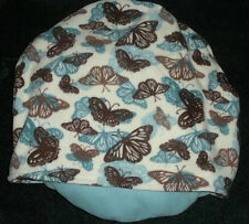 SMALL DOG-CAT BED SLEEPING BAG, BLUE & BROWN BUTTERFLIES, COMFY COZY