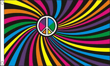 RAINBOW SWIRL FLAG 5' x 3' Peace CND Gay Pride Rights Lesbian LGBT