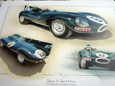 Jaguar D Type 1955 Mike Hawthorn Signed by Artist Print Le Mans 24 Hours