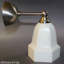 Wand-Lampe Art Deco Bauhaus Messing vernickelt seidenmatt Opalglas Designleuchte