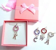 Bridesmaid Flower Girl Charm Carrier Necklace +Initial Coloured Crystal Gift Box