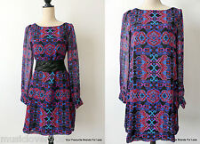 COOPER ST - NEW -  Long Sleeve Multi Coloured Tunic Dress Size 10 US 6