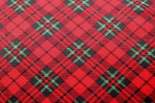 CHRISTMAS RED & GREEN PLAID FLANNEL FABRIC 100% COTTON SEWING QUILTING 3/4 YARD