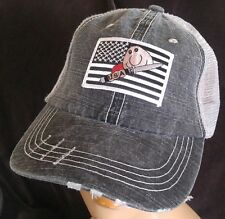 USA Flag Distressed Low Profile Cotton Soft Mesh Hat USA Sharp Objects Ball Cap