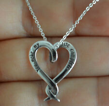 925 Sterling Silver Heart Charm w/ You Make My Life Complete Message Necklace