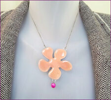 NEW PILGRIM SILVER PLATED CHAIN NECKLACE PINK ENAMEL FLOWER PENDANT  PEARL RARE