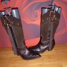 *61* SUPERB  ANNA BIAGINI BROWN LEATHER SNAKESKIN TASSLE STUD COWBOY BOOTS EU 38