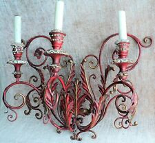 Vtg Electric BIG Tole WOOD Gilt Red METAL Leaves Flower WALL SCONCE Light ITALY