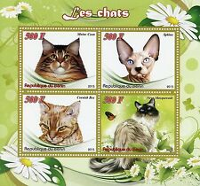Benin 2015 MNH Cats 4v M/S Pets Maine Coon Cornish Rex Sphinx Cat Stamps