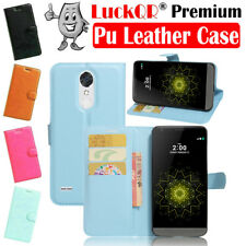 For LG K20 Plus V MP260 LG Harmony Leather Case Folio Card Wallet Stand Blue US