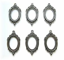 6 Antiqued Silvertone Princess 25mm x 18mm CAMEO Costume PENDANTS Frame Setting
