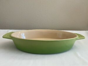 """LE CREUSET STONEWARE OVAL BAKING DISH ~ PALM (GREEN OMBRE)  17.5 X 9.5"""""""