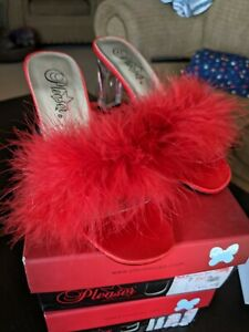 Pleaser Brand Red Maribou Feather Mules